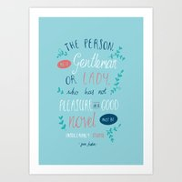 jane austen Art Prints featuring Jane Austen - Good Novel by Abbie Imagine