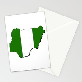 Nigeria Map with Nigerian Flag Stationery Cards
