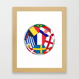 Football ball with various flags - semifinal and final Framed Art Print