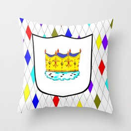A Stained Glass Window with Shield and Crown Throw Pillow