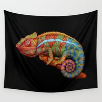 chameleon Wall Tapestries featuring Chameleon 3 by Tim Jeffs Art