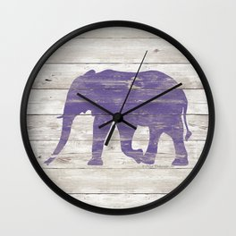 Violet Elephant on White Wood A222c Wall Clock
