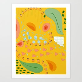 Yellow sunshine darling | Home decor | Happy art Art Print