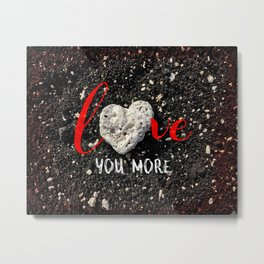 """Love You More"" Hawaii Beach with Coral Heart Photo Metal Print"