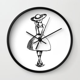 Tea Party Hat with High Lace Socks Wall Clock