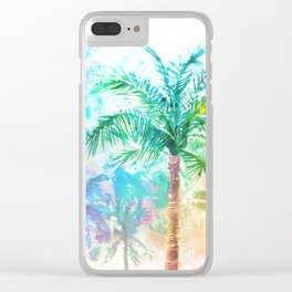 Neon Palm Trees Clear iPhone Case