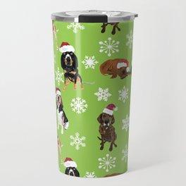 Santa hat coonhounds snowflakes green Travel Mug