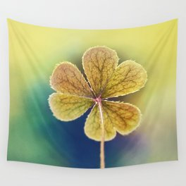Heart-shaped Clover like Oxalis Macro. St Patrick's Day Wall Tapestry
