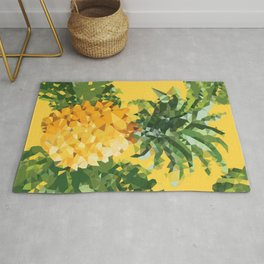 Tropical Pineapple Low Polygon Geometric Art Rug