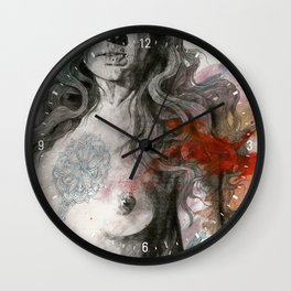 Edit Your Wounds (nude mandala girl erotic drawing) Wall Clock