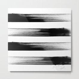 Japanese calligraphy stroke stripe -Zen style, black and white Metal Print