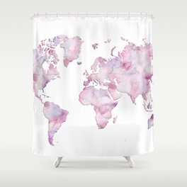Lavander and pink watercolor world map Shower Curtain