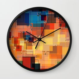 Multi color Square Geometrical Overlays Wall Clock