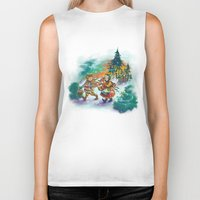 nordic Biker Tanks featuring Nordic Kids on white by Lori Keehner