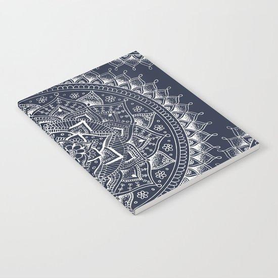 White Flower Mandala on Dark Blue Notebook