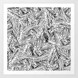 Black and White Feathers Art Print