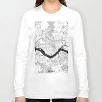seoul Long Sleeve T-shirts featuring Seoul Map Gray by City Art Posters