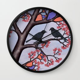 spring crows in the stained glass tree Wall Clock