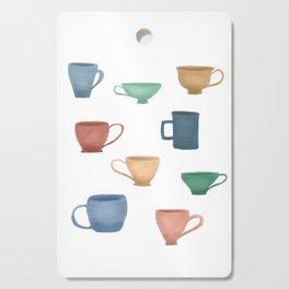 Colorful Tea Cups and Coffee Mugs Cutting Board