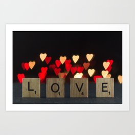 Scrabble tiles LOVE letters with DIY heart bokeh background for Valentine's Day Art Print