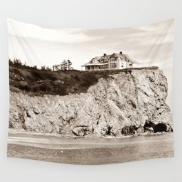 Big House on the Cliff panoramic Wall Tapestry