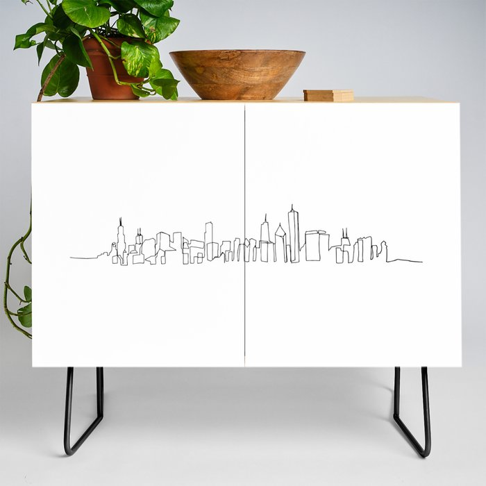 Chicago_Skyline_Drawing_Credenza_by_Emily_DeSantis__Black__Birch