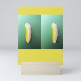 Single, Pale Yellow Feather Mini Art Print