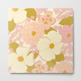 Pink Pastel Vintage Floral Pattern Metal Print