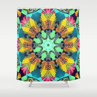 mandela Shower Curtains featuring Colour and Pattern Mandela by thea walstra
