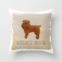 brussels Throw Pillows featuring Brussels Griffon by 52 Dogs