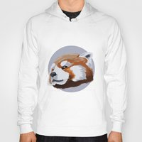 red panda Hoodies featuring panda by JuliaTara