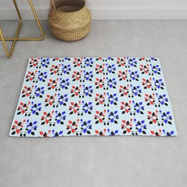 Plant Pattern Red Blue Black and Blue Rug