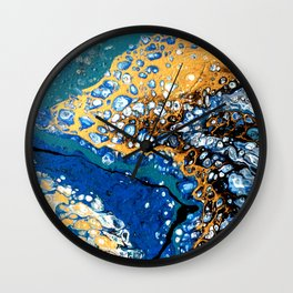 Gold and Blue Flow Wall Clock