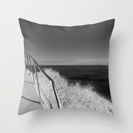 Sailing in the wind through the waves, Boat, Black and White photography #Society6 Throw Pillow