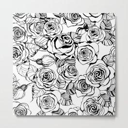Hand drawn roses pattern Metal Print