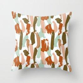 Retro Color Block Stripes Popsicle Sticks Rusty Orange Throw Pillow