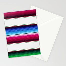 Traditional Mexican Serape in White Multi Stationery Cards