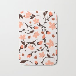 Floral Pattern In Coral and Rust Bath Mat