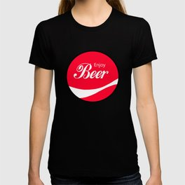 Enjoy Beer - Funny Vintage Cola Advertisement Parody Spoof - Red Round Reto Logo T-shirt