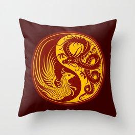 Yellow and Red Dragon Phoenix Yin Yang Throw Pillow