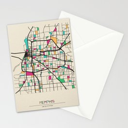 Colorful City Maps: Memphis, Tennessee Stationery Cards