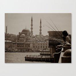 "Sultan Ahmed Mosque (""Blue Mosque"", Istanbul, TURKEY) from Galata Bridge fisherman Canvas Print"