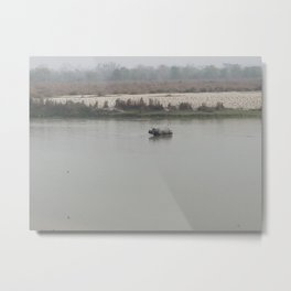 Rhino Crossing the River - Chitwan National Park, Nepal Metal Print