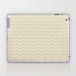 Gold and White Christmas Wavy Chevron Stripes Laptop & iPad Skin