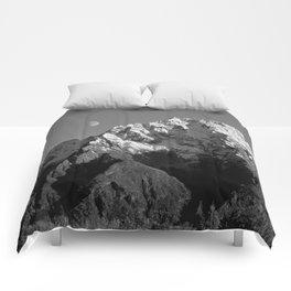 Moon Over Pioneer Peak B&W Comforters