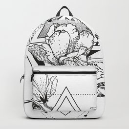 Alchemy symbol with moon and flowers Backpack