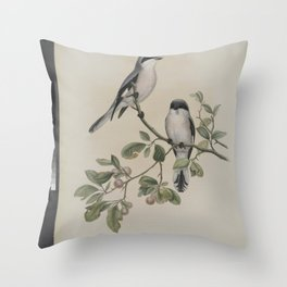 057 Lanius minor. Rose Breasted Shrike Throw Pillow