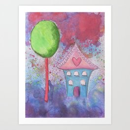 Whimsical House Watercolour Art Print