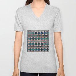 Decorative Multi-color Diamond Pattern Design Unisex V-Neck