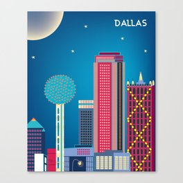 Dallas, Texas - Skyline Illustration by Loose Petals Canvas Print